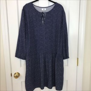 Old Navy Calico Pleated Front Drop Waist Dress XL